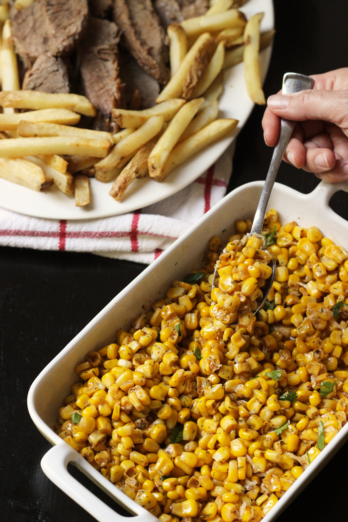 casserole dish of corn off the cob