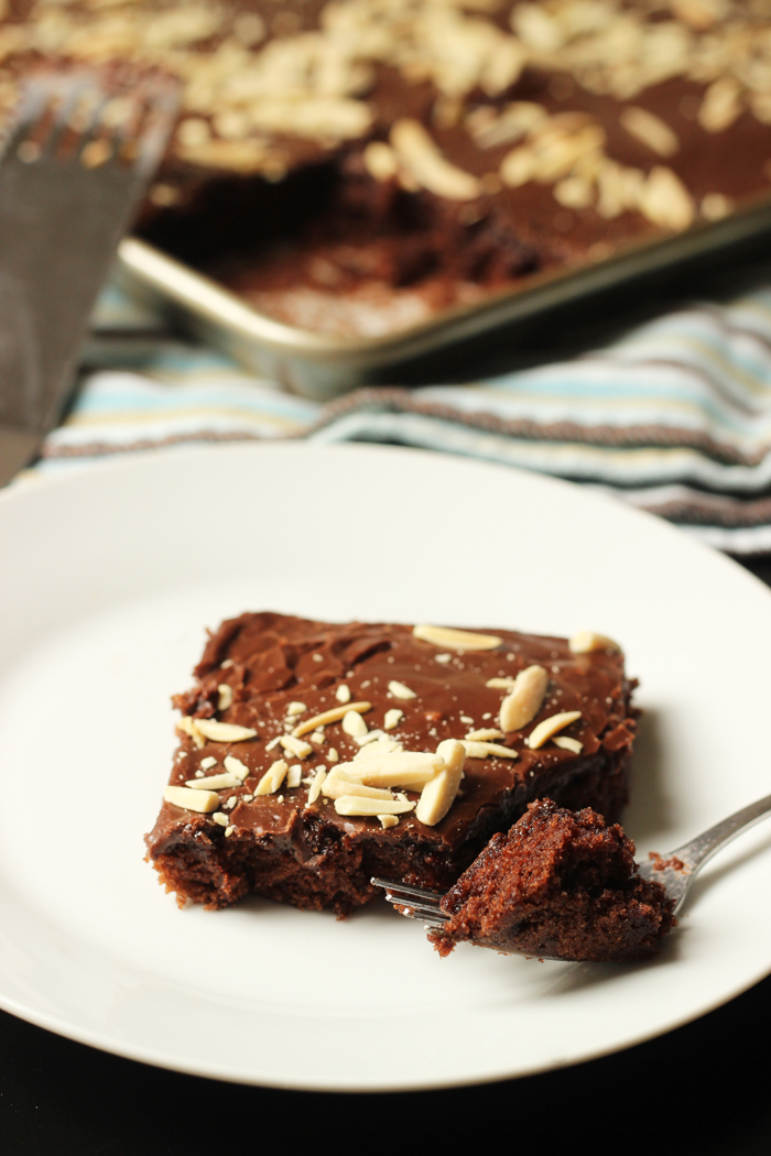 Easy Chocolate Sheet Cake slice on a plate
