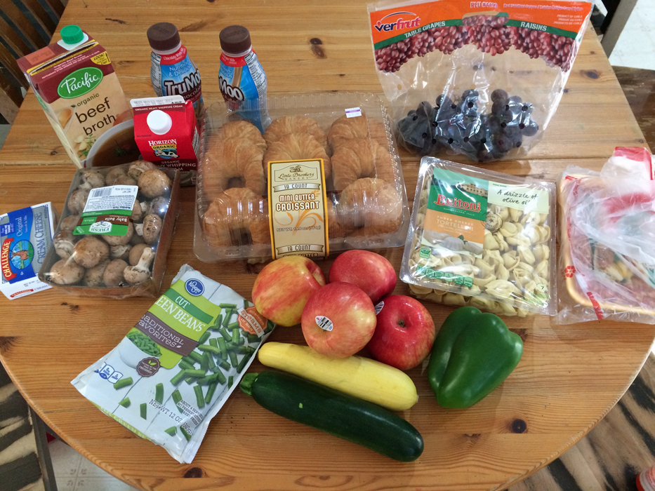 groceries on a wooden table