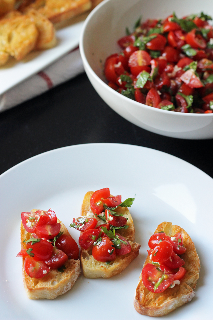 Tomato Salad on toast slices