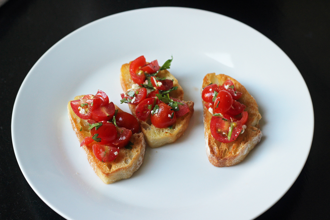 toasts with tomato salad