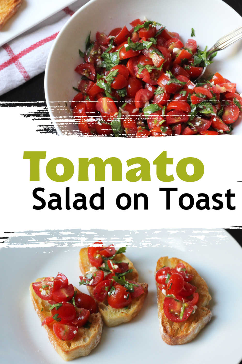 tomato salad in a bowl, with dippers topped with salad