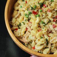A closeup of a bowl of Tuna Mac Salad