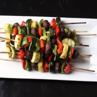 A close up of Vegetable Kabobs