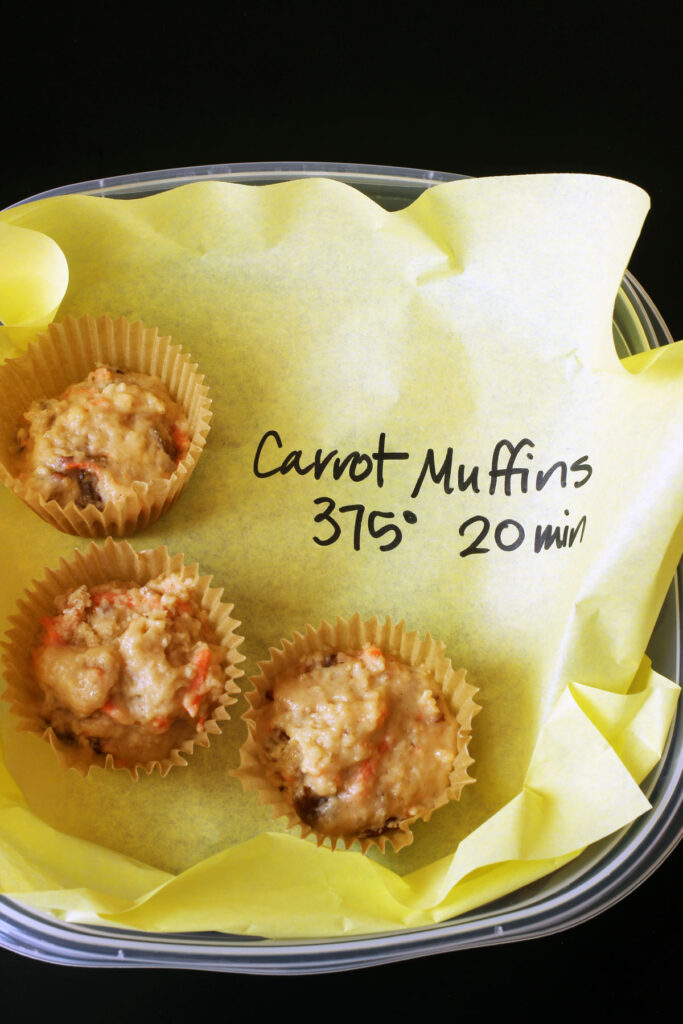 frozen muffins in papers