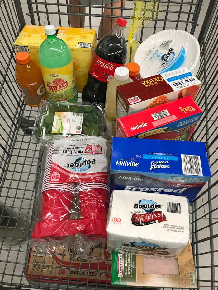 A bunch of items in ALDI grocery cart
