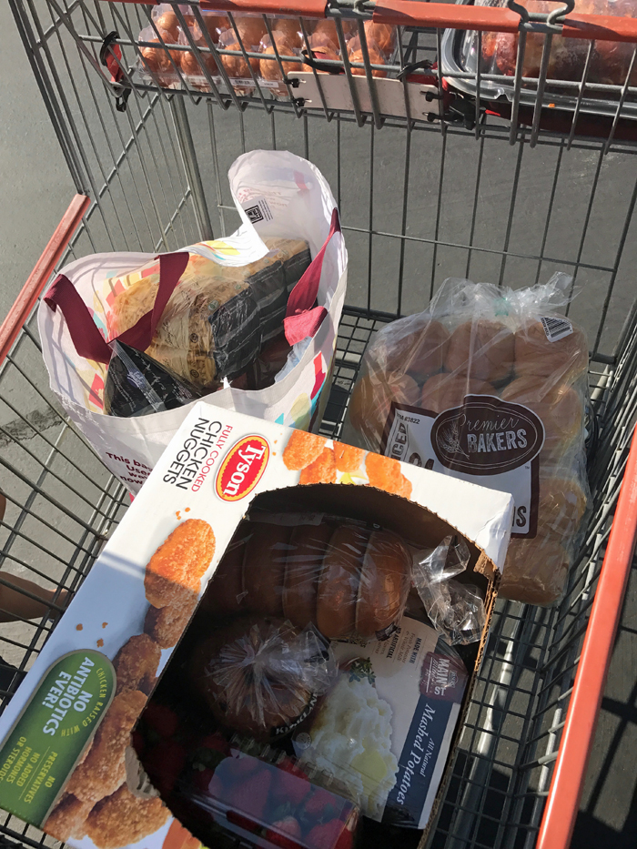 bagged groceries in Costco cart