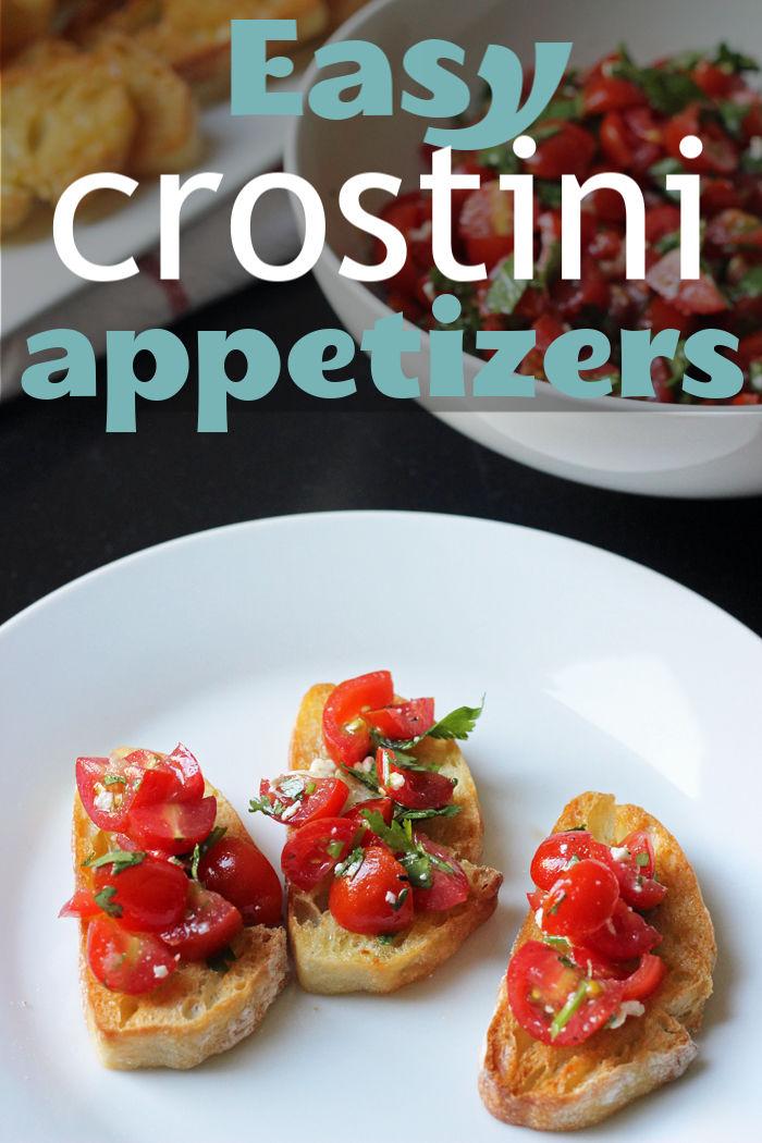 A plate of food on crostinis
