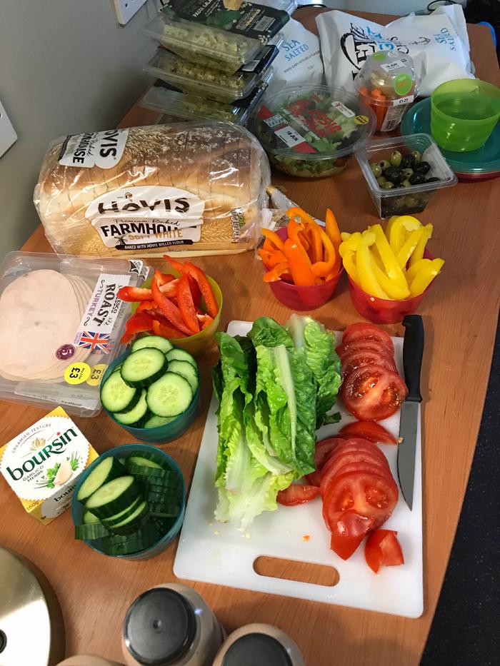 prepping UK groceries on hotel desk