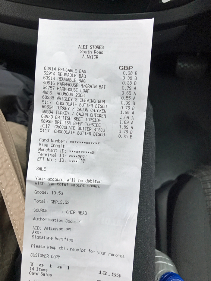 ALDI receipt in pounds