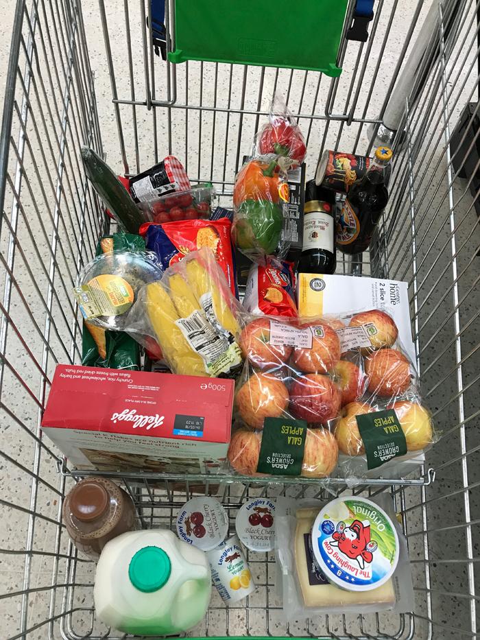 Groceries in Asda cart