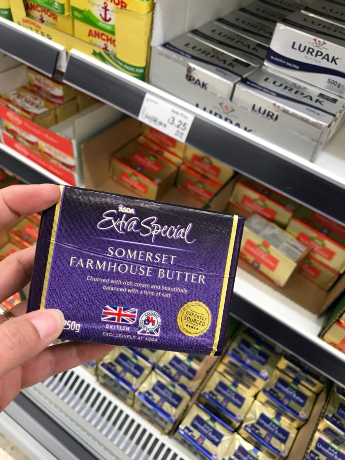 holding Somerset Butter in ALDI in UK