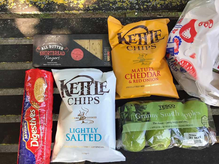 Snacks from UK grocery store on park bench