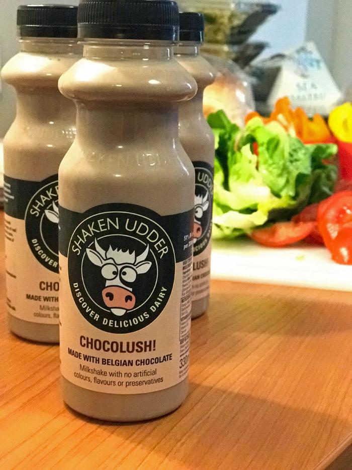 bottles of Shaken Udder Chocolush on hotel table