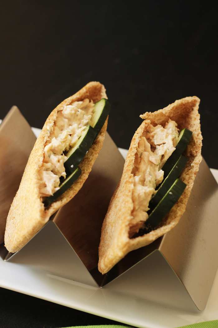 tuna salad in pita bread halves