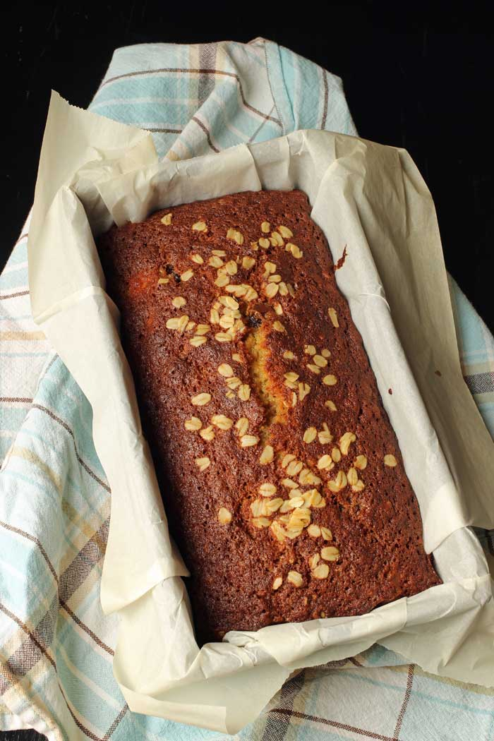 baked loaf of chocolate chip banana bread