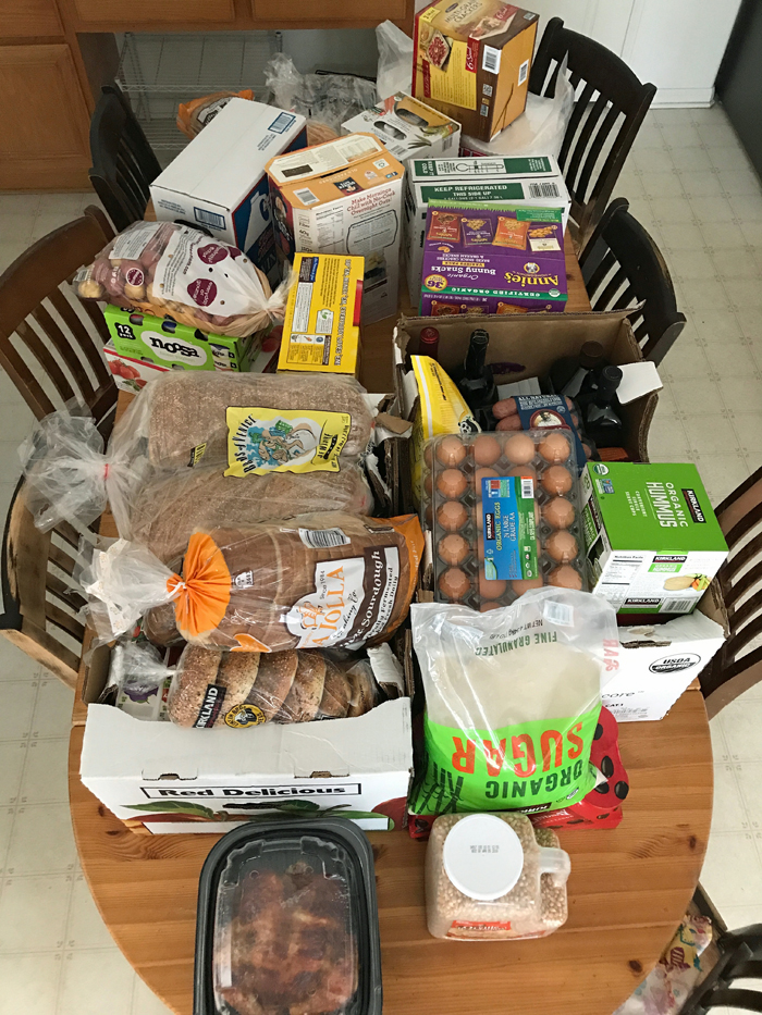 A stack of groceries on a table