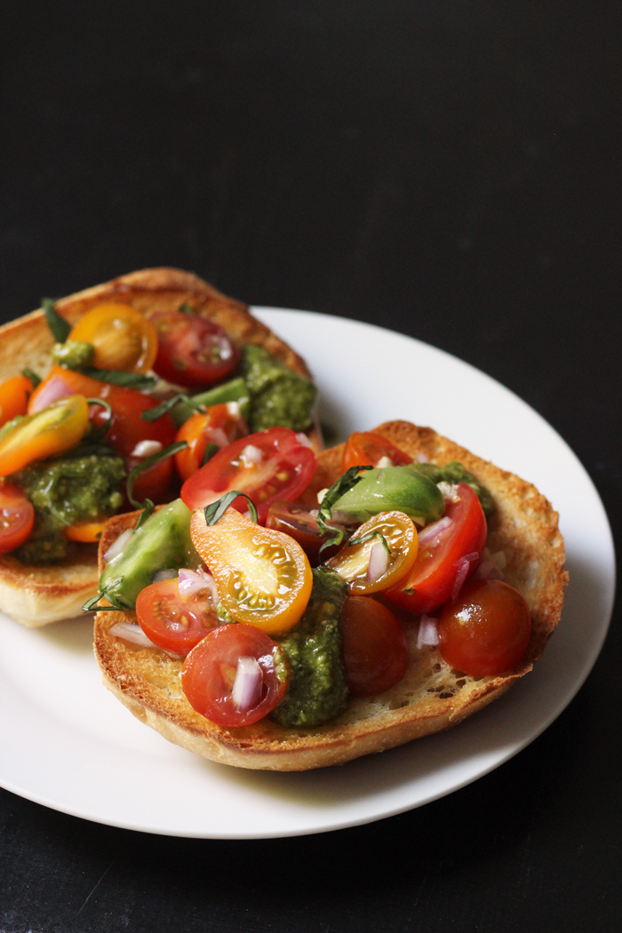 Pesto Bruschetta on bread on a plate