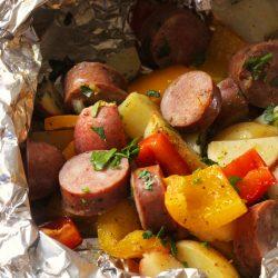 seasoned salt on sausage and vegetables