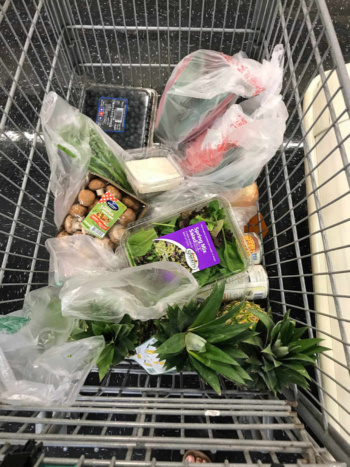 A close up of food in grocery cart