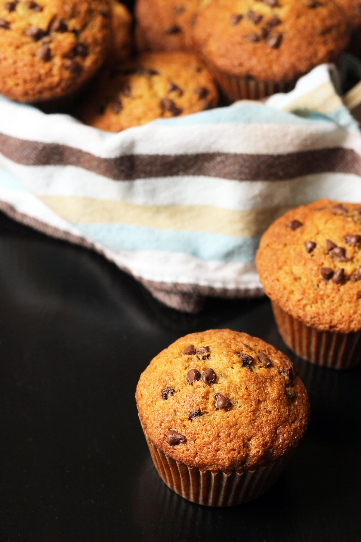 banana muffin on table with basket