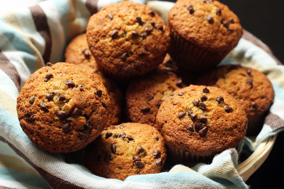 banana chocolate chip muffins in a basket