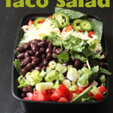 black bean taco salad in meal prep box