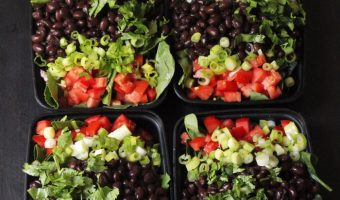 black bean taco salads packed in boxes