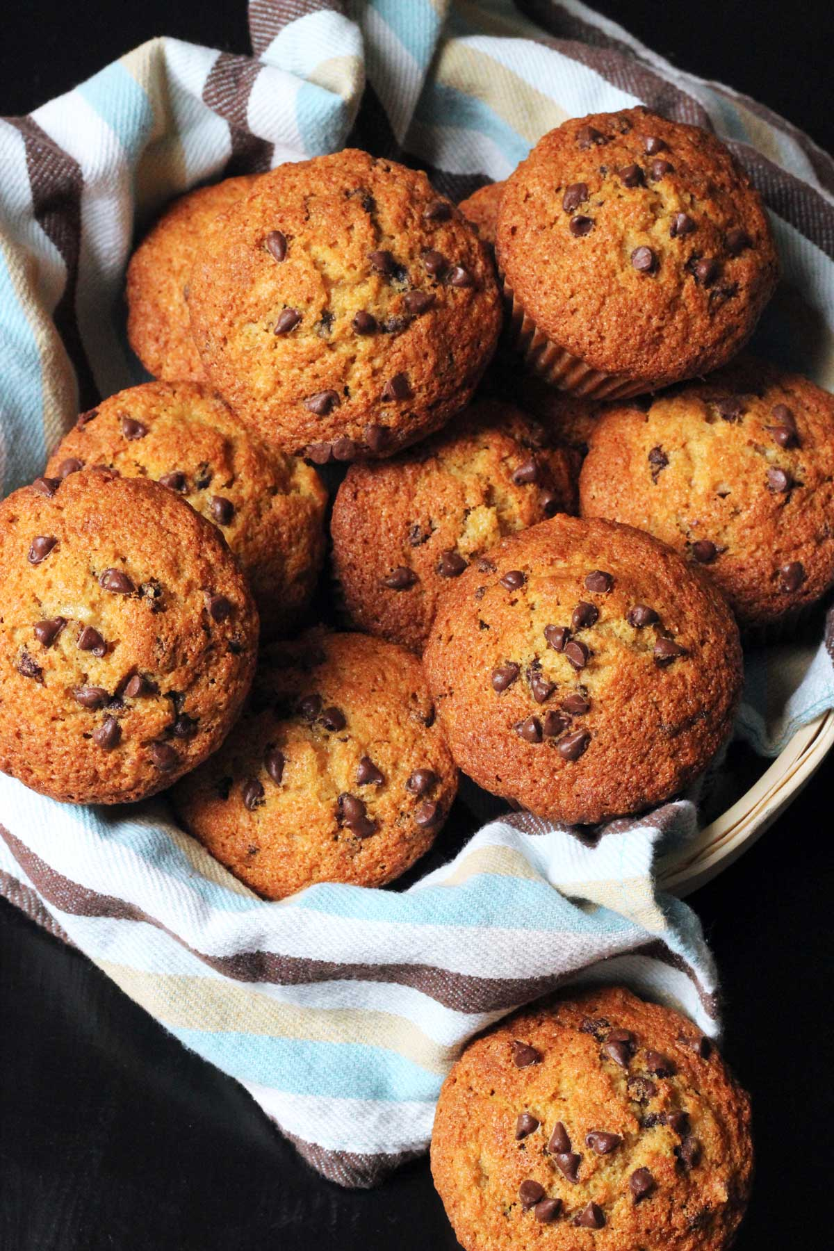 basket of banana chocolate chip muffins