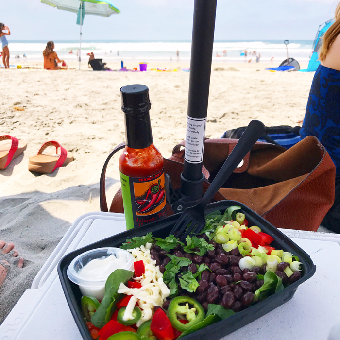 Black Bean Taco Salad at the beach