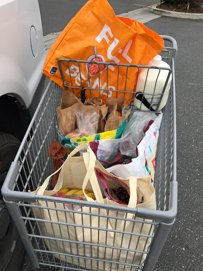 A basket full of groceries