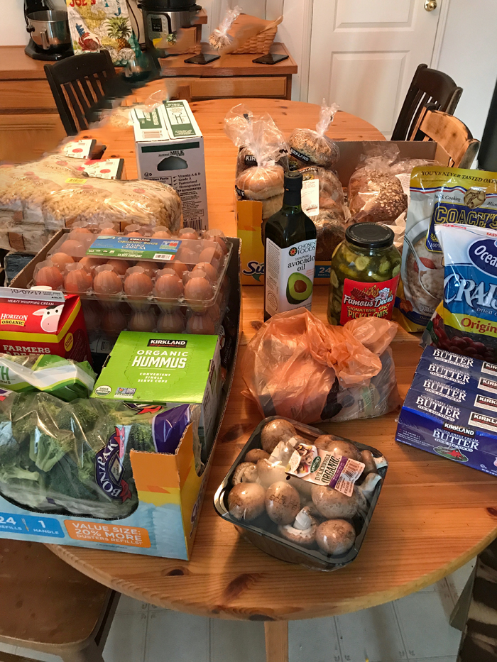 groceries unloaded on a table