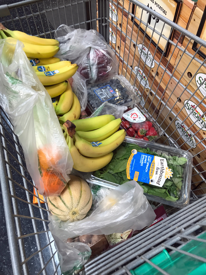 bananas and other groceries in cart