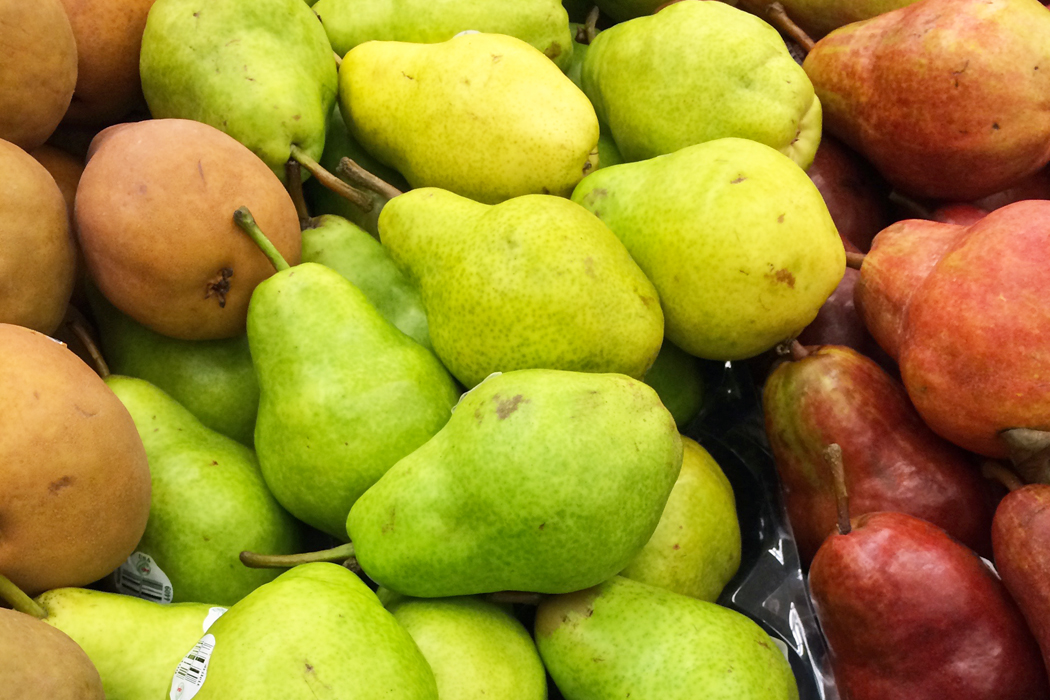 stacks of colored pears