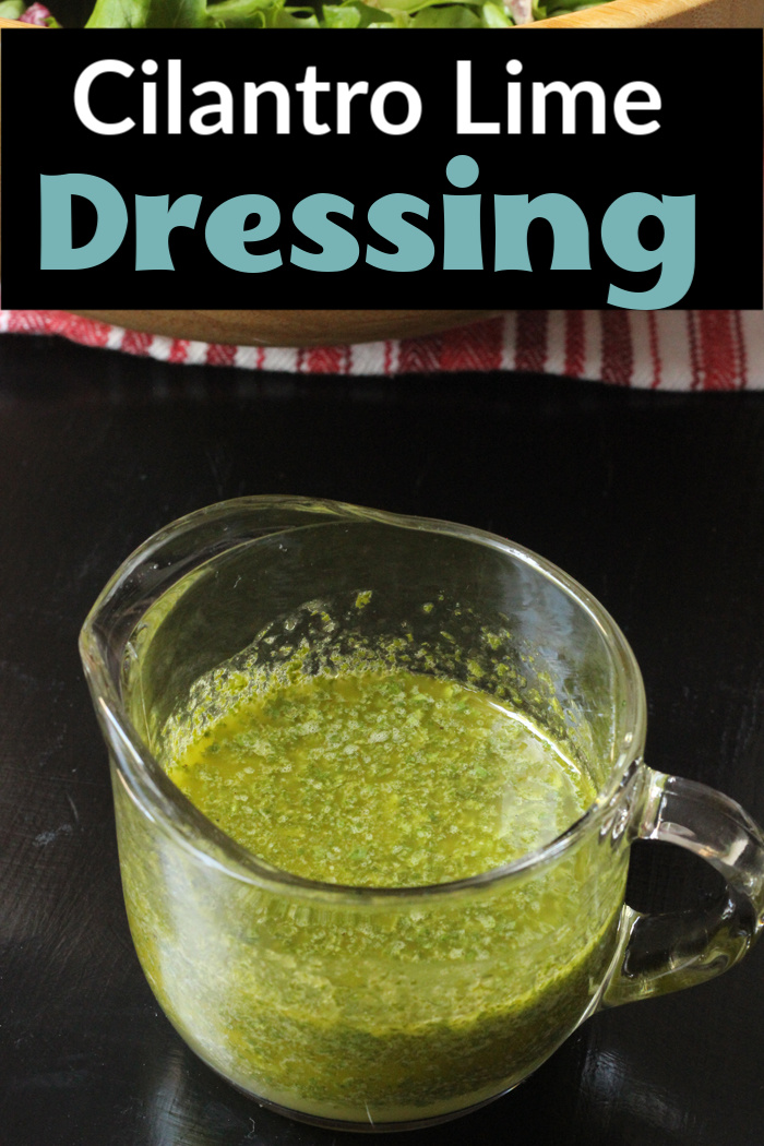 Cilantro Lime dressing in glass pitcher