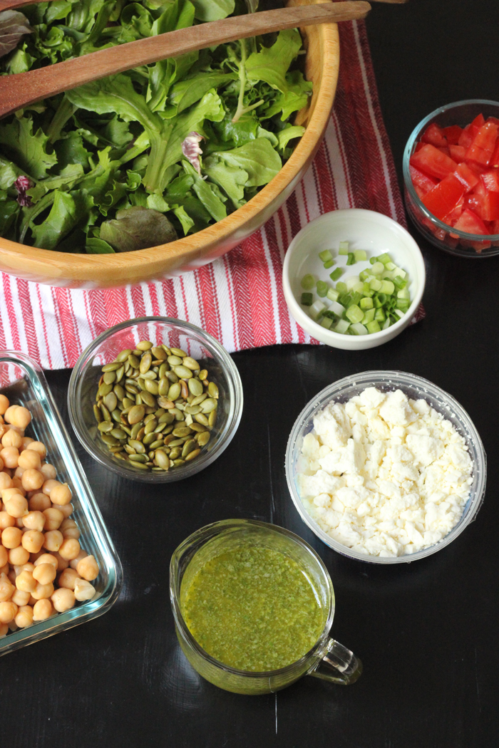 Spring Greens Salad with Pepitas and Feta | Good Cheap Eats