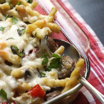 pan of sausage noodle casserole