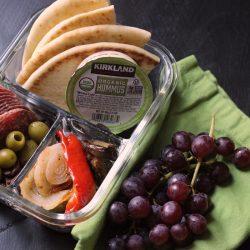 snack box with hummus, pita, and veggies