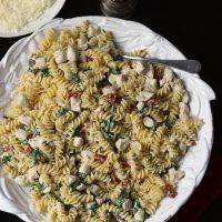 large bowl of creamy chicken pasta