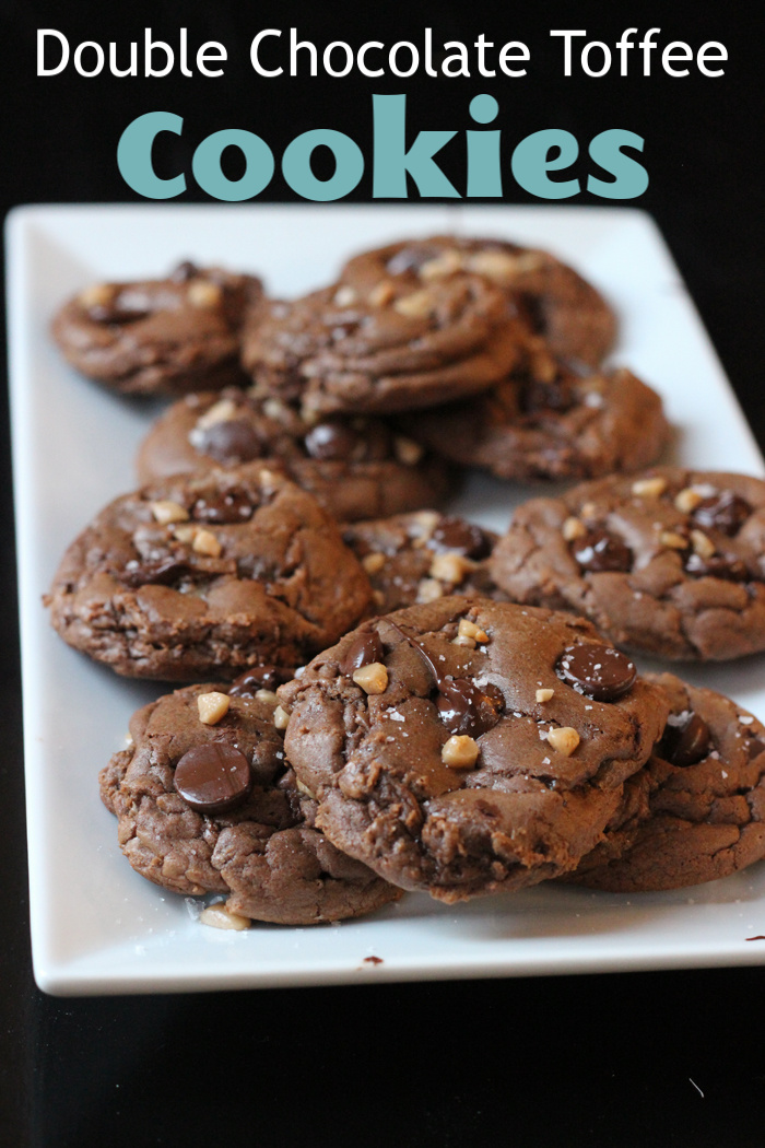 A plate of Double Chocolate Toffee Cookies