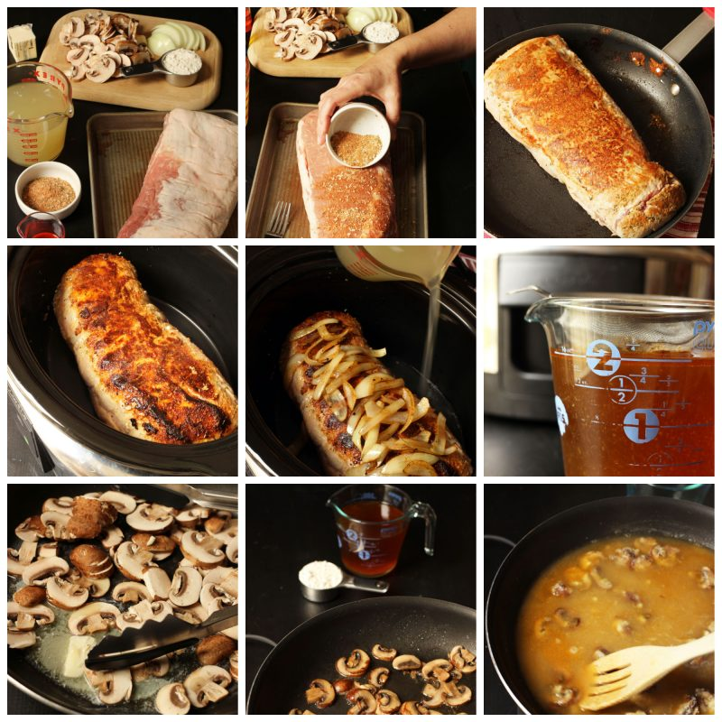 step by step process of cooking pork loin roast in slow cooker