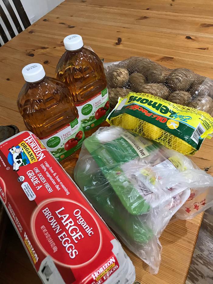 groceries on wooden table