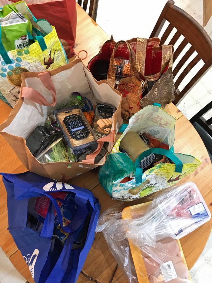 bags of groceries on tabletop