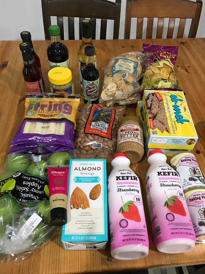 array of Trader Joe\'s groceries on table