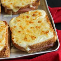 close up of croque monsieur on tray