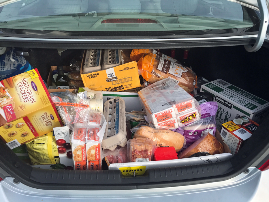 groceries in the trunk of the car