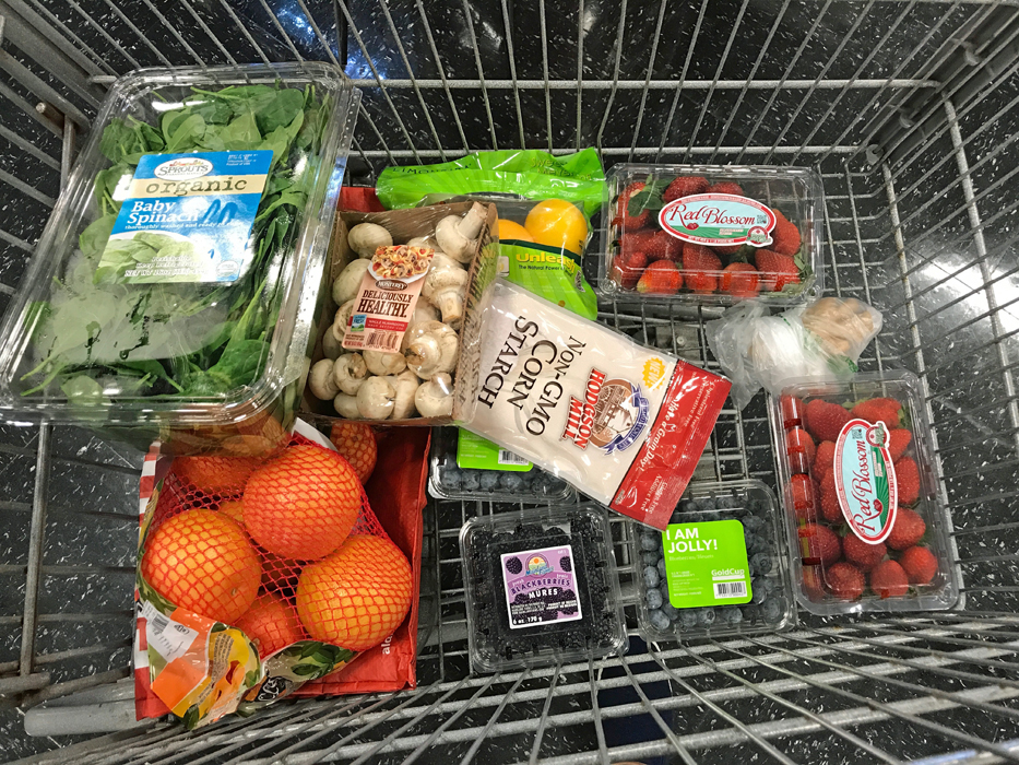 produce in a cart