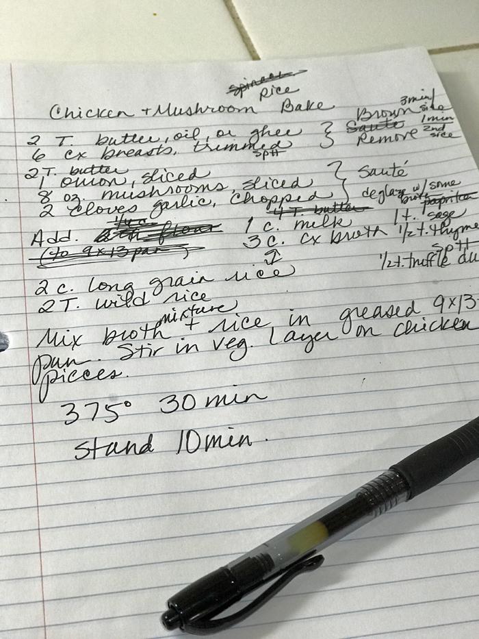 recipe written on paper