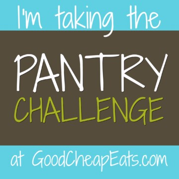 badge that says, I'm taking the pantry challenge at Good Cheap Eats