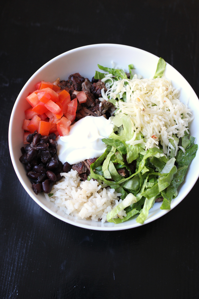 rice bowl with black beans and carne asada